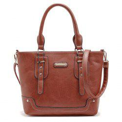 Metal and Straps Detail Handbag - BROWN
