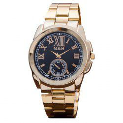 Alloy Strap Roman Numerals Analog Watch - BLACK