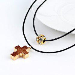Rhinestone Artificial Gem Crucifix Ball Necklace