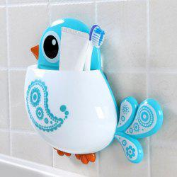 Cartoon Bird Wall Suction Toothbrush Holder - BLUE