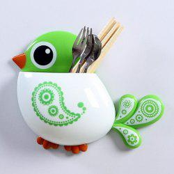Cartoon Bird Wall Suction Toothbrush Holder - GREEN