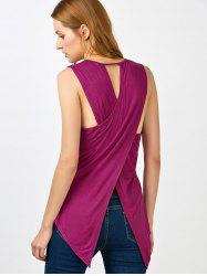Sleeveless High Low Hem Criss Cross T-Shirt