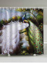 Oil Painting Peacocks Polyester Waterproof Shower Curtain