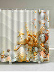 Sandy Beach Starfish Print Waterproof Shower Curtain