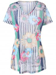 Plus Size Striped and Floral Longline T-Shirt
