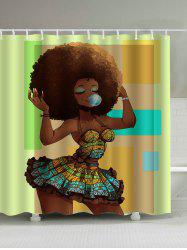 Afro Hair Beautiful Girl Polyester Waterproof Shower Curtain - BROWN