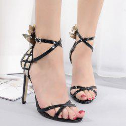 Mini Heel Cross Strap Sandals