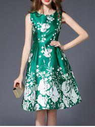 Floral Printed High Waist Flare Dress - GREEN