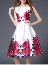 Floral Print Sleeveless High Waist Flare Dress - WHITE M