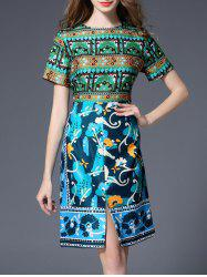 High Waist Slit Printed Sheath Dress
