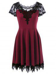 Lace Insert Party Skater Dress - WINE RED XL