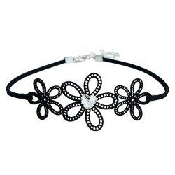 Heart Rhinestone Hollow Out Floral Choker Necklace