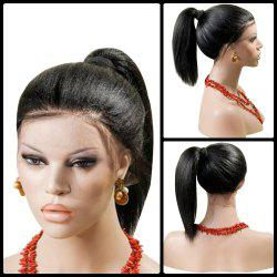 Long Centre Part Yaki Straight Lace Front Synthetic Wig - BLACK