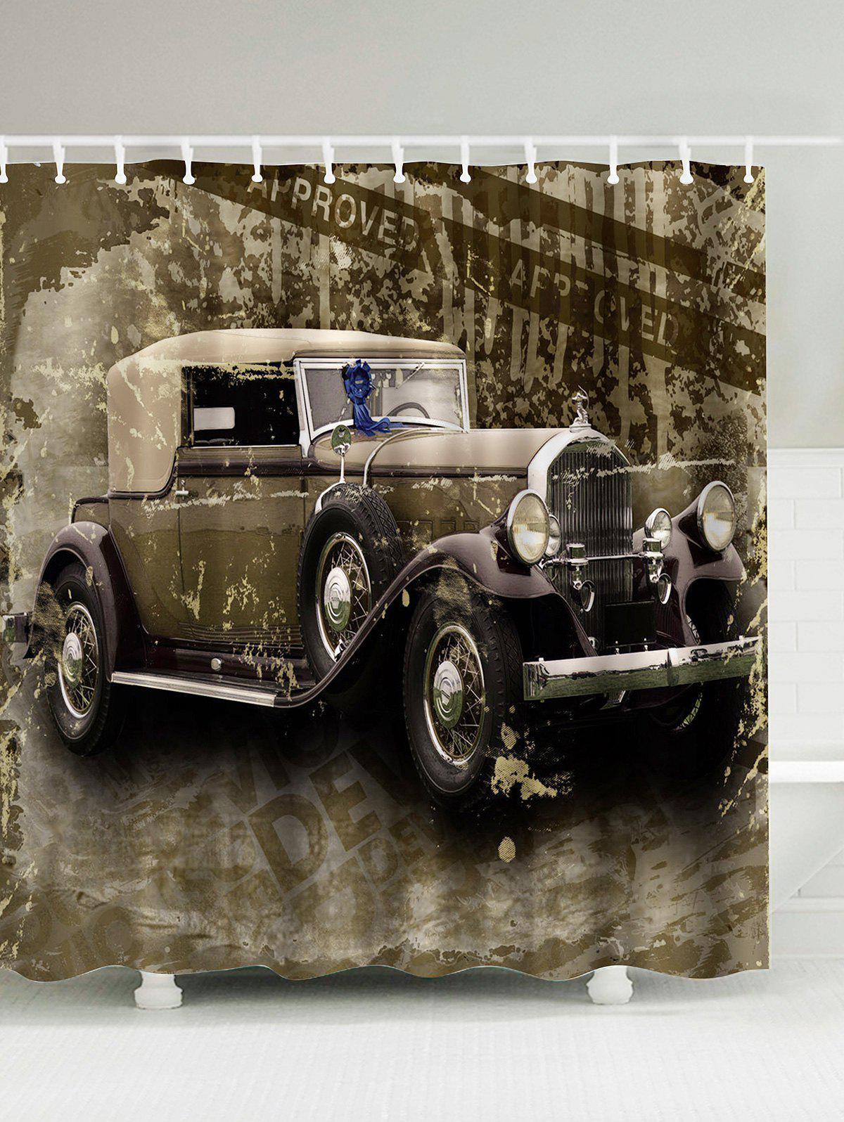 Discount Vintage Car Polyester Waterproof Shower Curtain