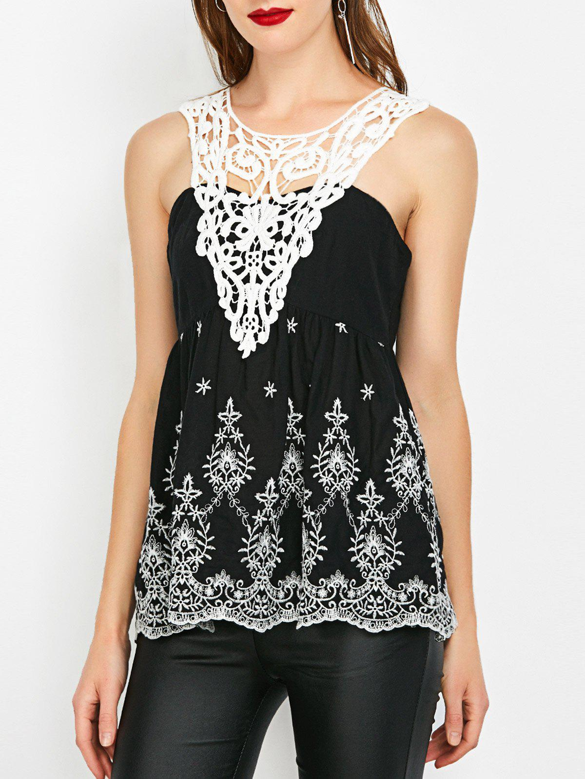 Affordable Crochet Trim Shirred Sleeveless Blouse