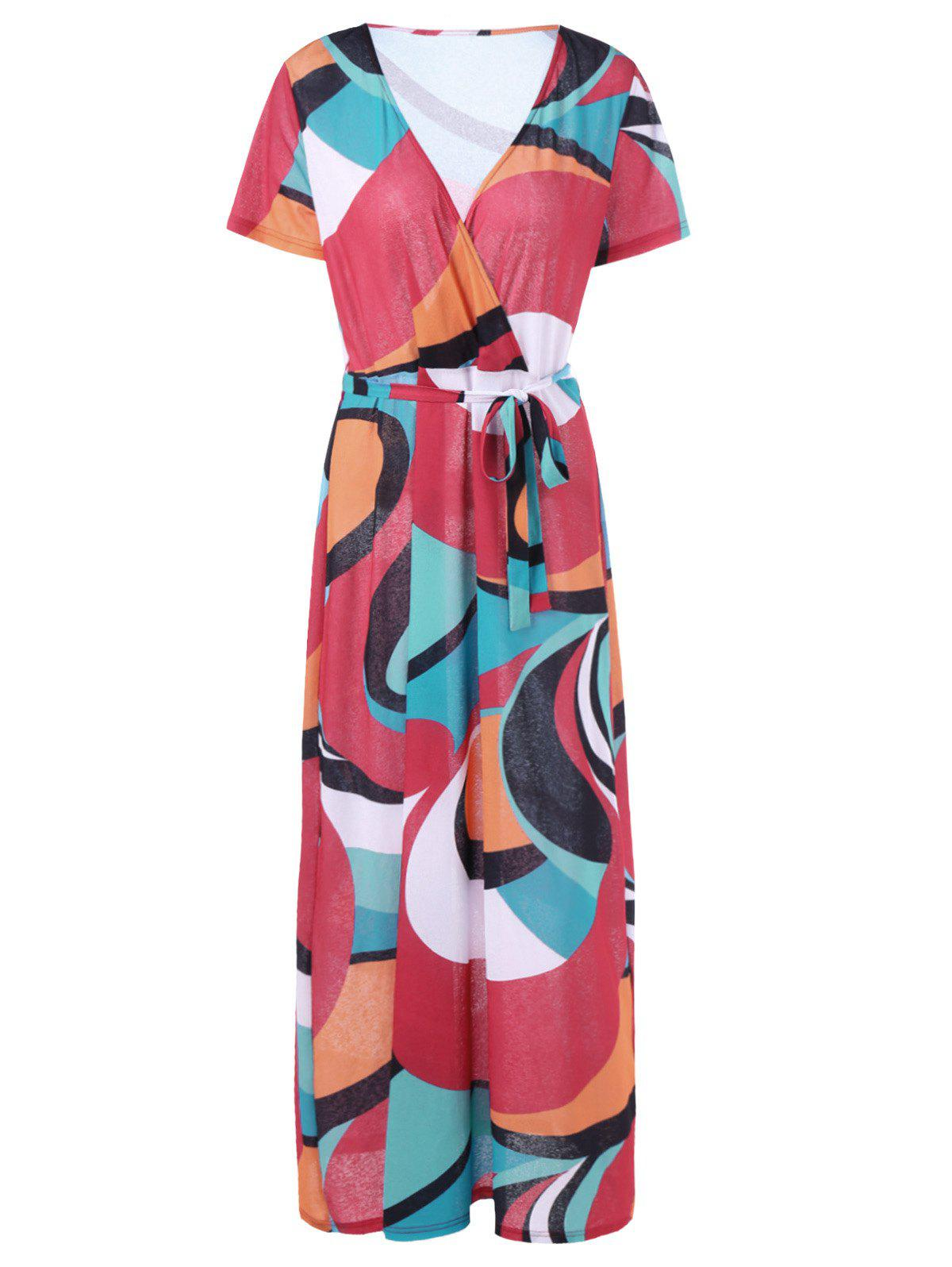 Outfit V Neck Plus Size Colorblock Belted Maxi Surplice Dress