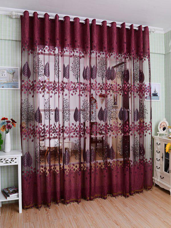 Fabric Sheer Leaf Embroidery Tulle Curtain For Living RoomHOME<br><br>Size: 100*250CM; Color: PURPLISH RED; Applicable Window Type: French Window; Function: Translucidus (Shading Rate 1%-40%); Installation Type: Ceiling Installation; Location: Window; Material: Voile Curtain; Opening and Closing Method: Left and Right Biparting Open; Pattern Type: Leaves; Processing: Punching; Processing Accessories Cost: Excluded; Style: European and American Style; Type: Curtain; Use: Cafe,Home,Hospital,Hotel,Office; Weight: 0.4000kg; Package Contents: 1 x Tulle Curtain ?Without Blackout Curtain?;
