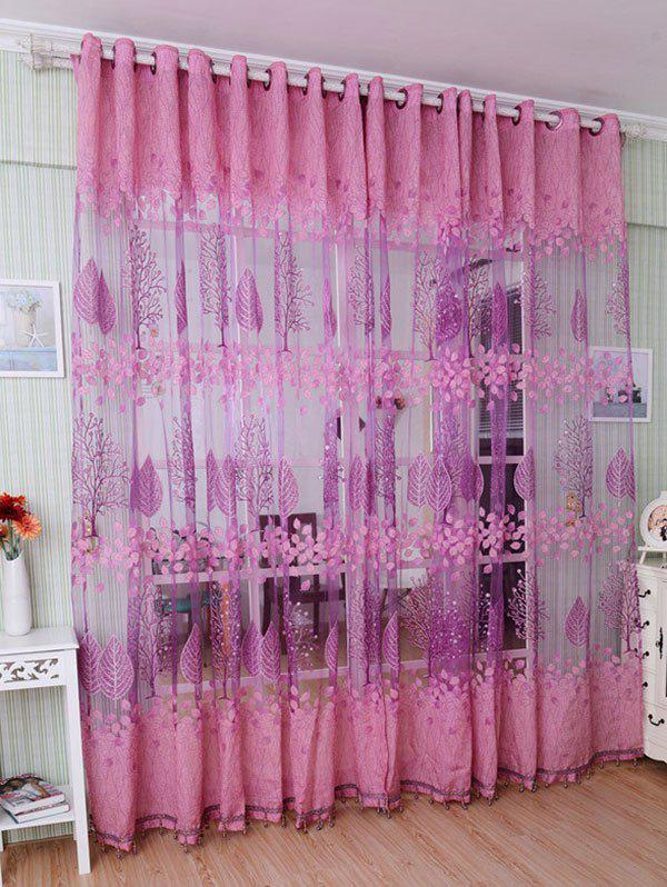 Fancy Fabric Sheer Leaf Embroidery Tulle Curtain For Living Room