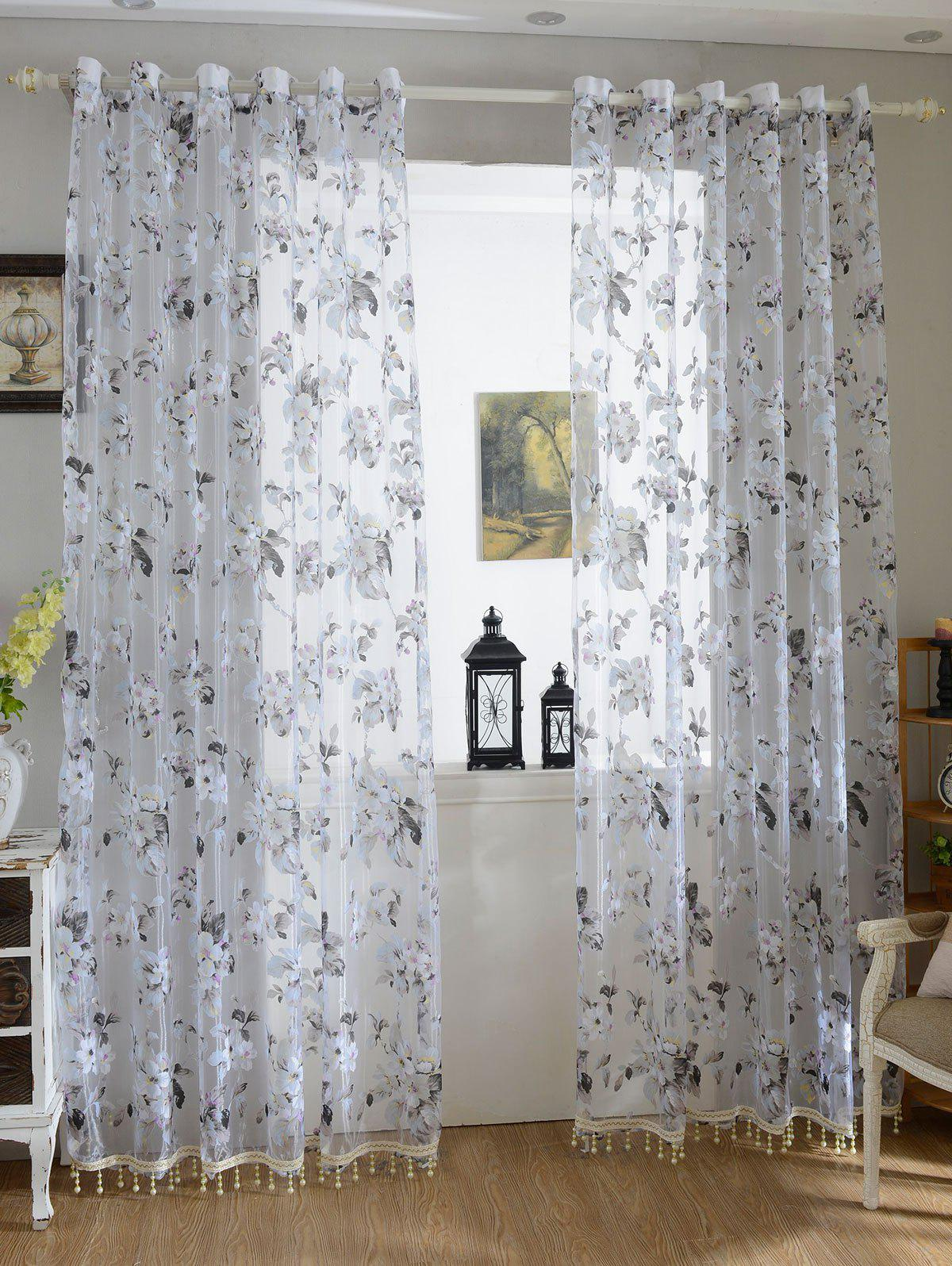Buy Floral Embroidery Sheer Tulle Curtain with Beads Pendant