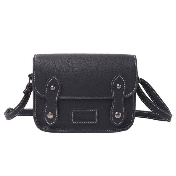 Stitching Faux Leather Cross Body BagSHOES &amp; BAGS<br><br>Color: BLACK; Handbag Type: Crossbody bag; Style: Fashion; Gender: For Women; Pattern Type: Solid; Handbag Size: Mini(&lt;20cm); Closure Type: Magnetic Closure; Occasion: Versatile; Main Material: PU; Weight: 0.2340kg; Size(CM)(L*W*H): 19*6*16; Package Contents: 1 x Cross Body Bag;