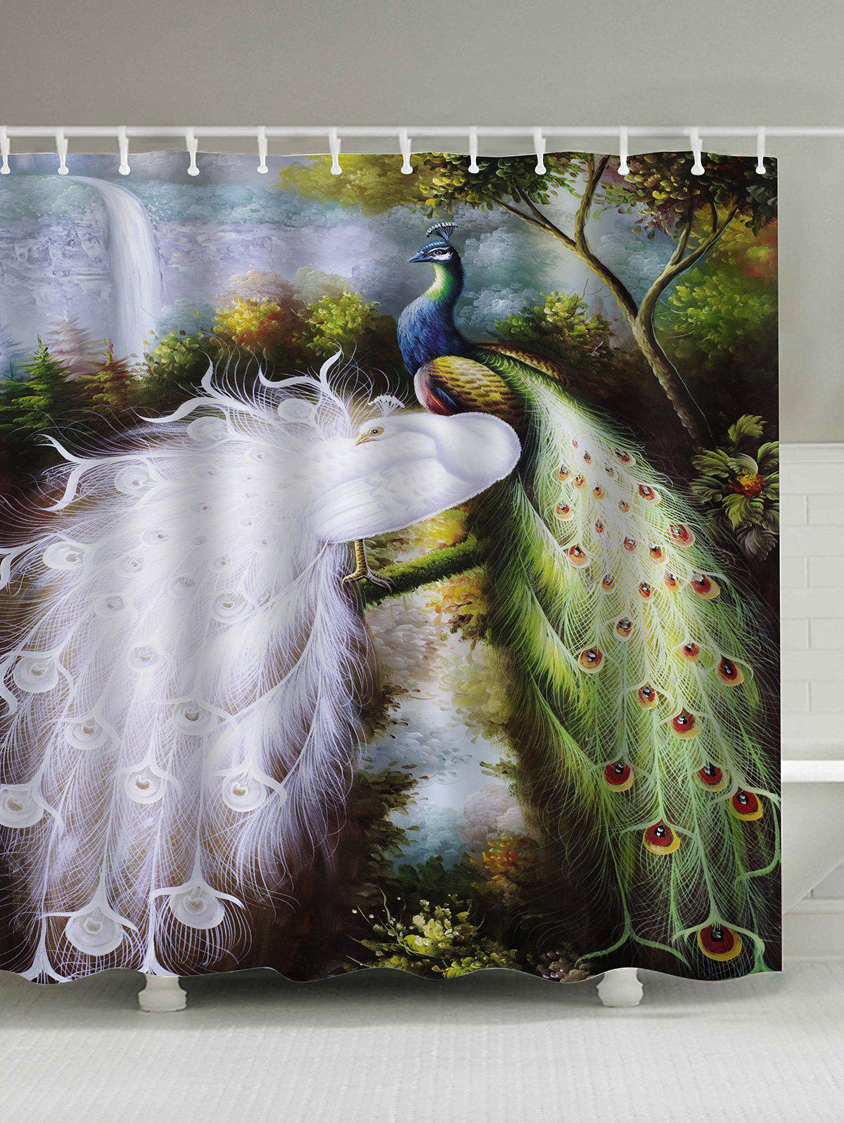 Affordable Oil Painting Peacocks Polyester Waterproof Shower Curtain