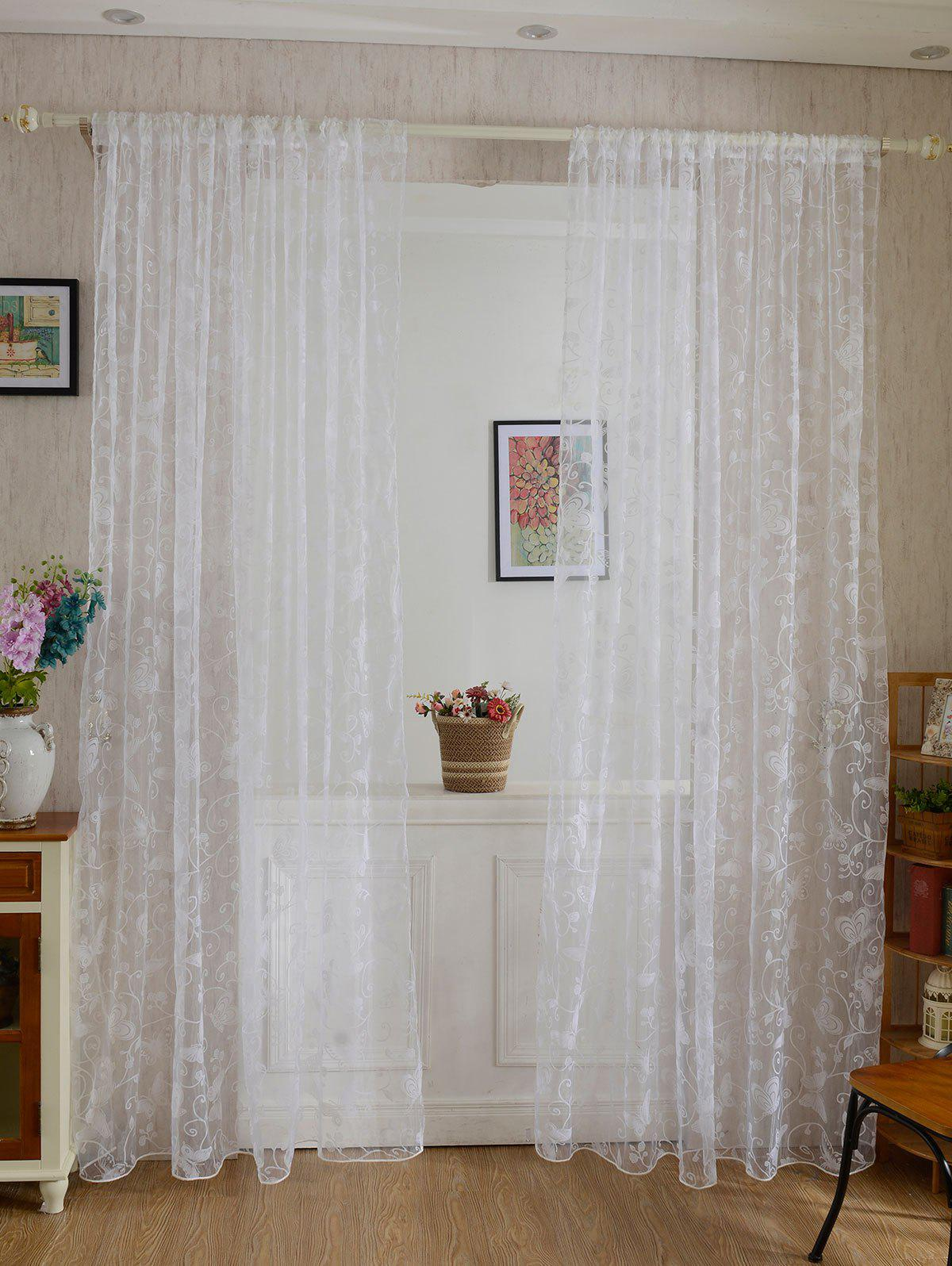 Buy 2 Panels Butterflies Embroidery Window Sheer Tulle Curtain