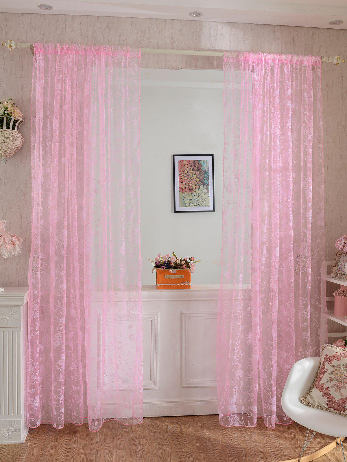 Hot 2 Panels Butterflies Embroidery Window Sheer Tulle Curtain