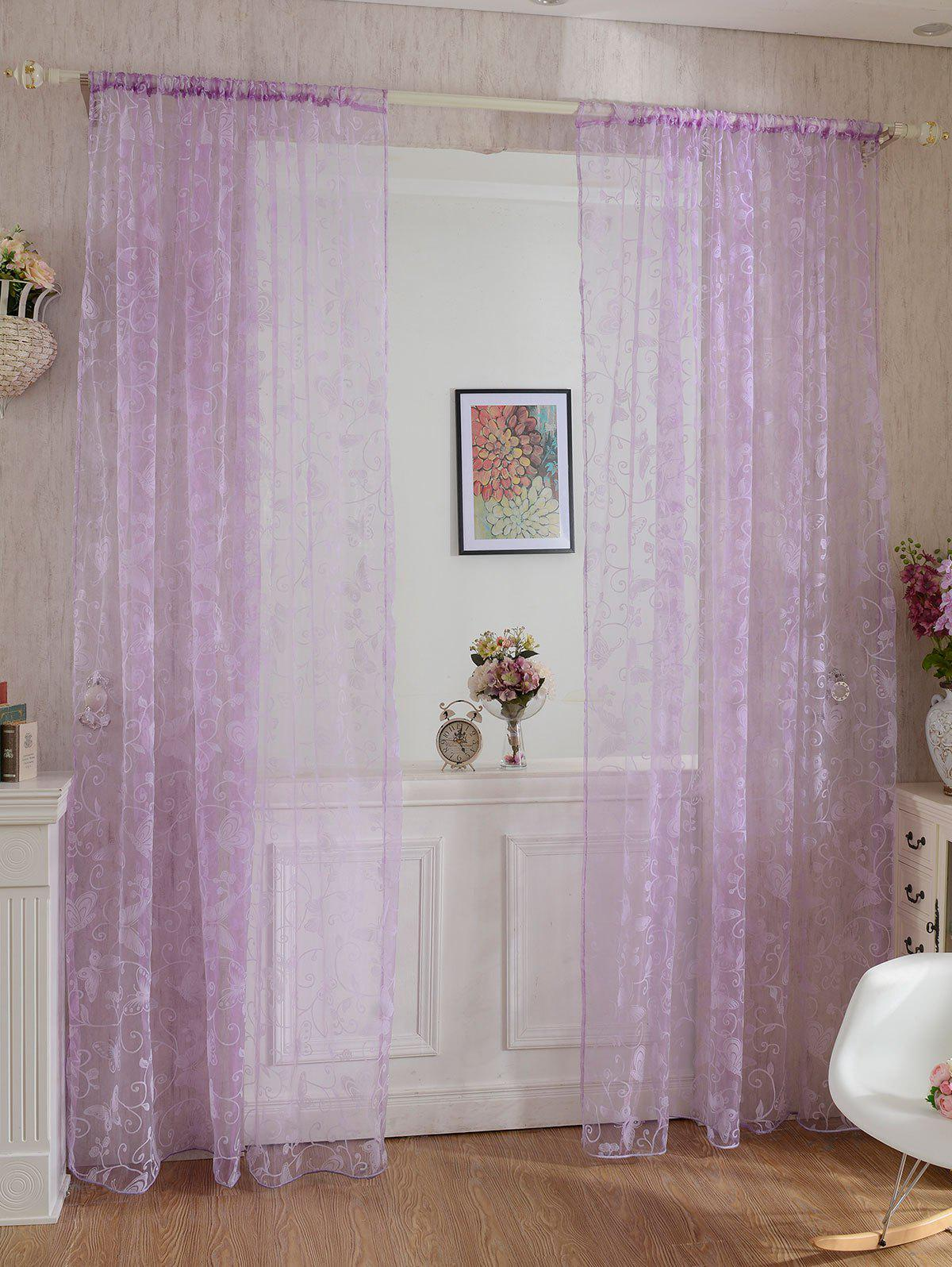 Chic 2 Panels Butterflies Embroidery Window Sheer Tulle Curtain