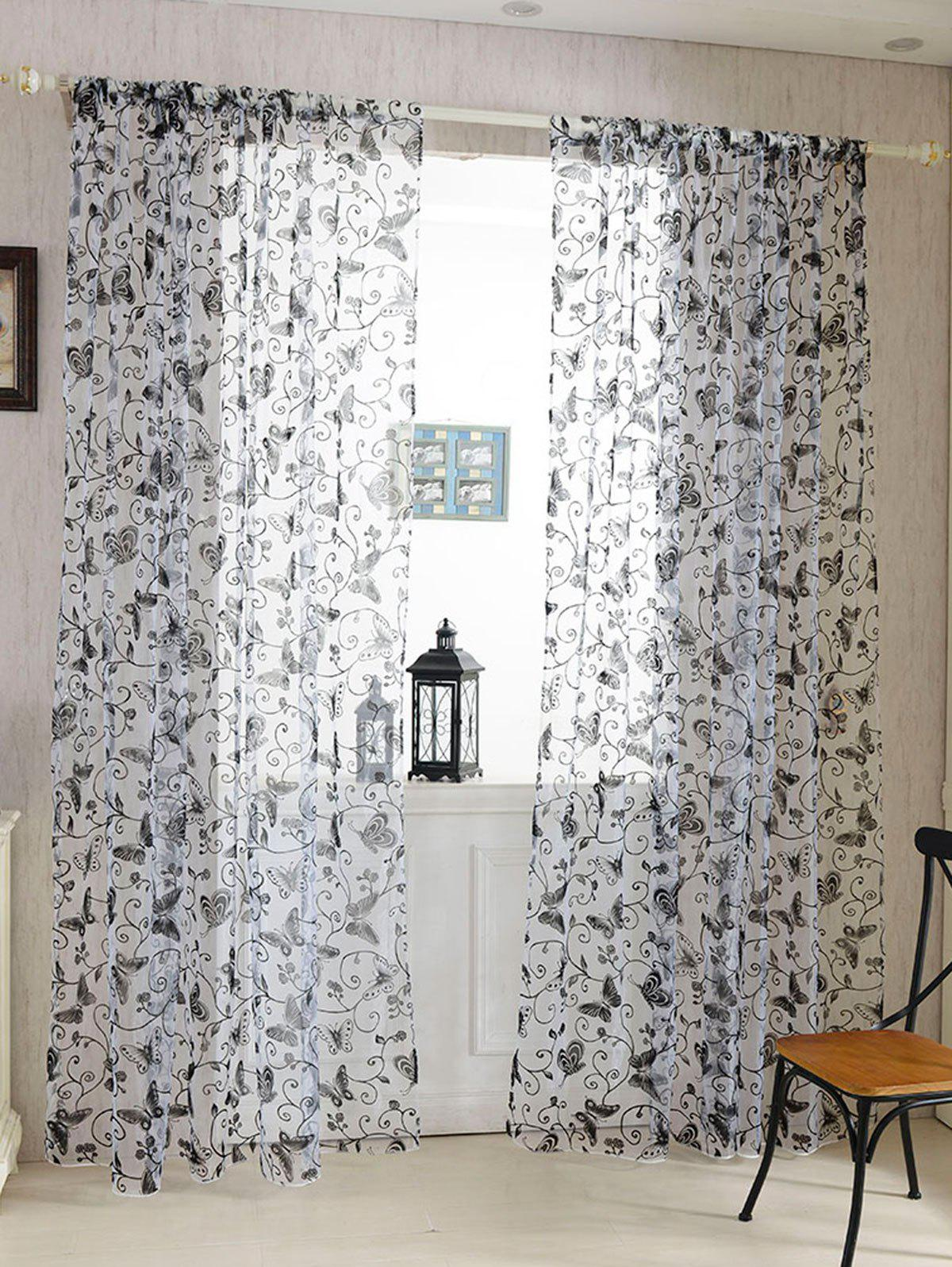 Discount 2 Panels Butterflies Embroidery Window Sheer Tulle Curtain