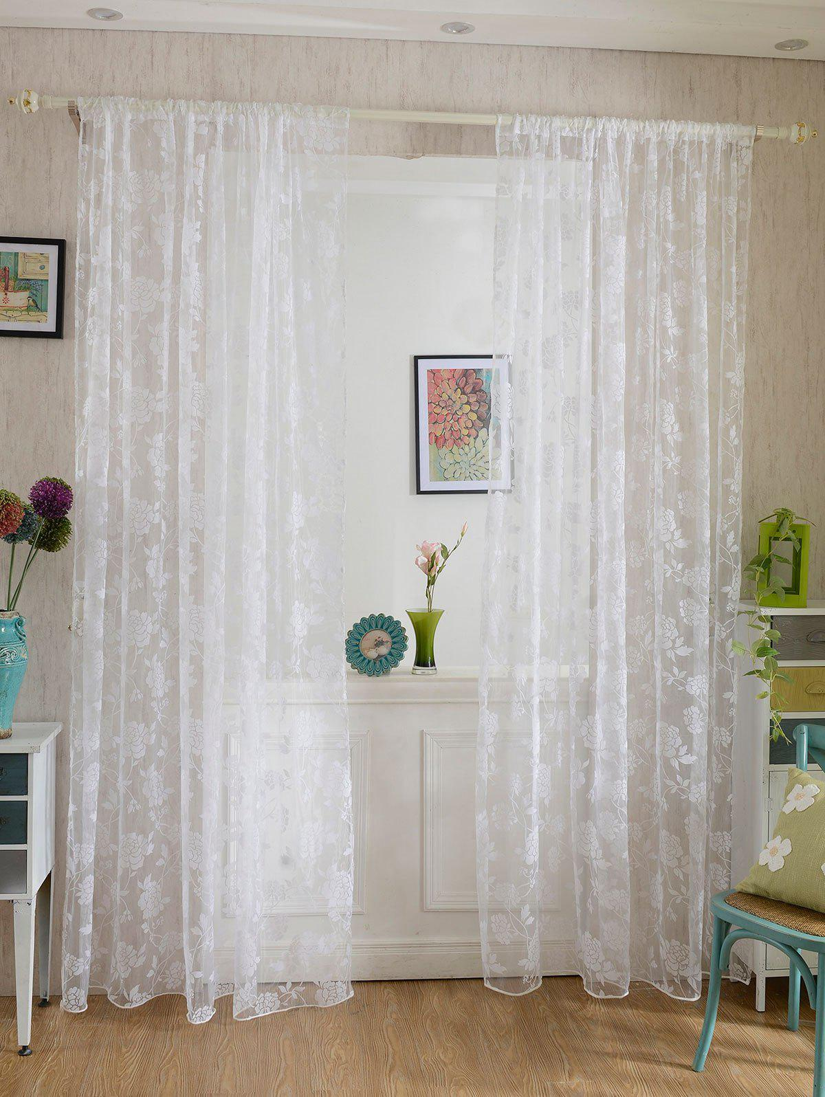 2Pcs/Set Rose Sheer Tulle Fabric Curtain For BedroomHOME<br><br>Size: 100*200CM ?2PCS/SET?; Color: WHITE; Applicable Window Type: French Window; Function: Translucidus (Shading Rate 1%-40%); Installation Type: Ceiling Installation; Location: Window; Material: Voile Curtain; Opening and Closing Method: Left and Right Biparting Open; Pattern Type: Floral; Processing Accessories Cost: Excluded; Style: European and American Style; Type: Tulle; Use: Cafe,Home,Hospital,Hotel,Office; Weight: 0.1800kg; Package Contents: 2 x Curtains;