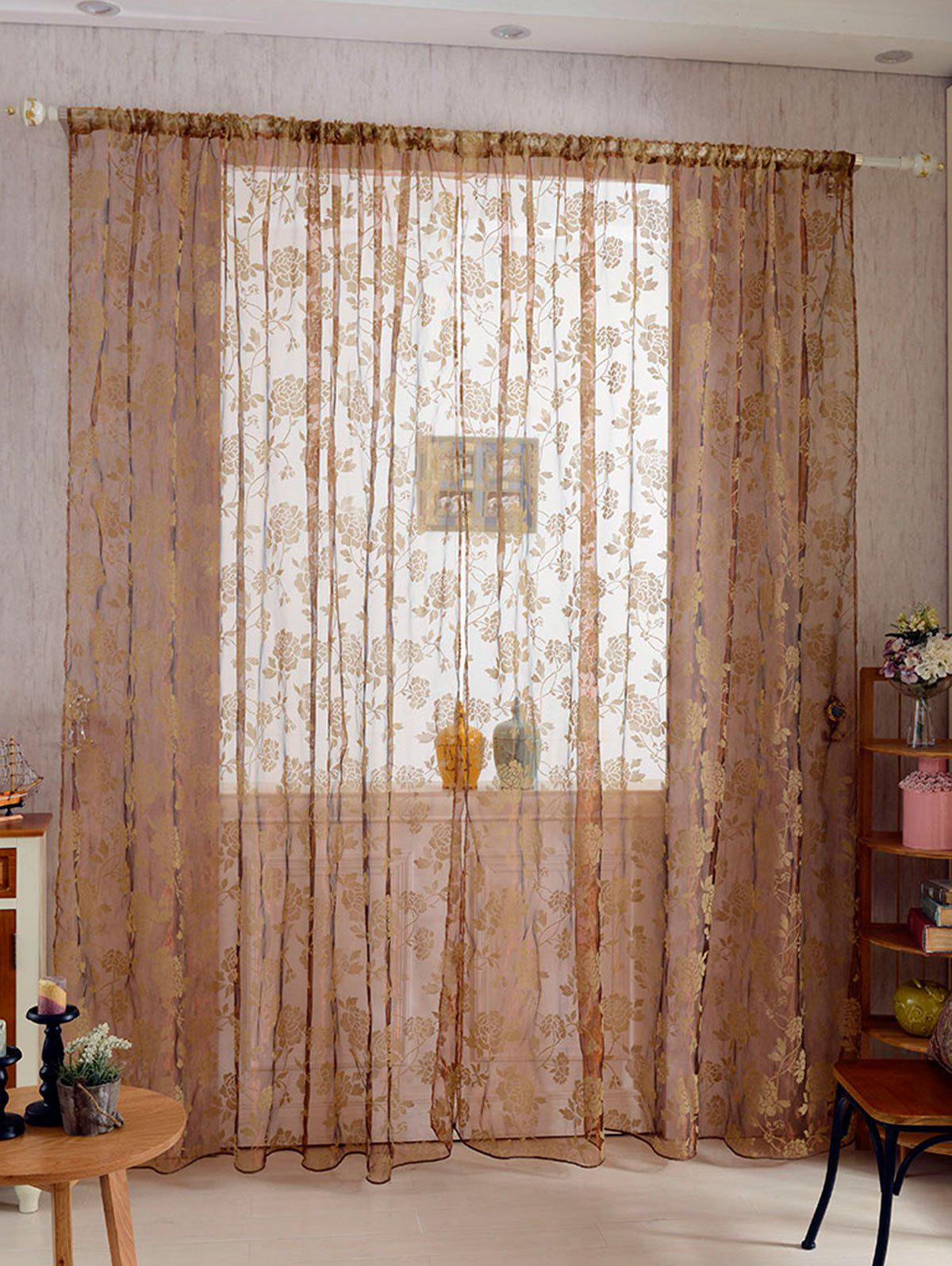 Store 2Pcs/Set Rose Sheer Tulle Fabric Curtain For Bedroom