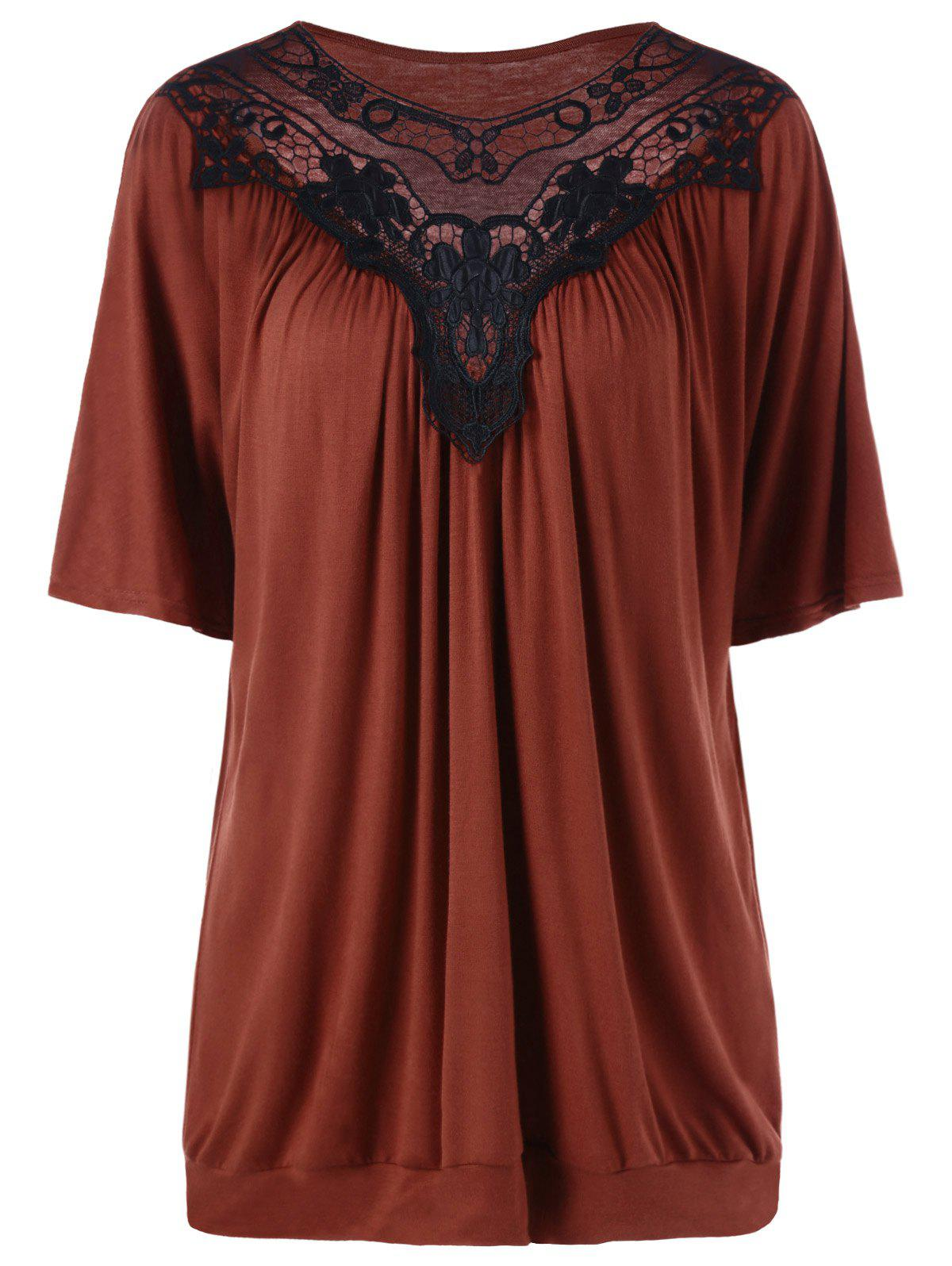 Plus Size Lace Panel Long T-ShirtWOMEN<br><br>Size: 3XL; Color: SPICE; Material: Cotton Blends,Polyester; Shirt Length: Long; Sleeve Length: Short; Collar: Scoop Neck; Style: Casual; Season: Spring,Summer; Embellishment: Lace; Pattern Type: Others; Weight: 0.3500kg; Package Contents: 1 x Tee;