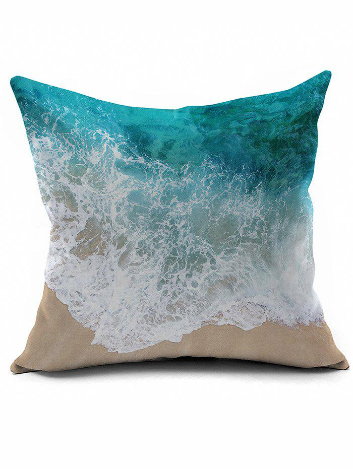 Seawater Print Short Plush Square Pillow CaseHOME<br><br>Color: COLORMIX; Material: Polyester / Cotton; Fabric Type: Velboa; Pattern: Printed; Style: Modern/Contemporary; Shape: Square; Size(CM): 45*45; Weight: 0.0950kg; Package Contents: 1 x Pillow Case;