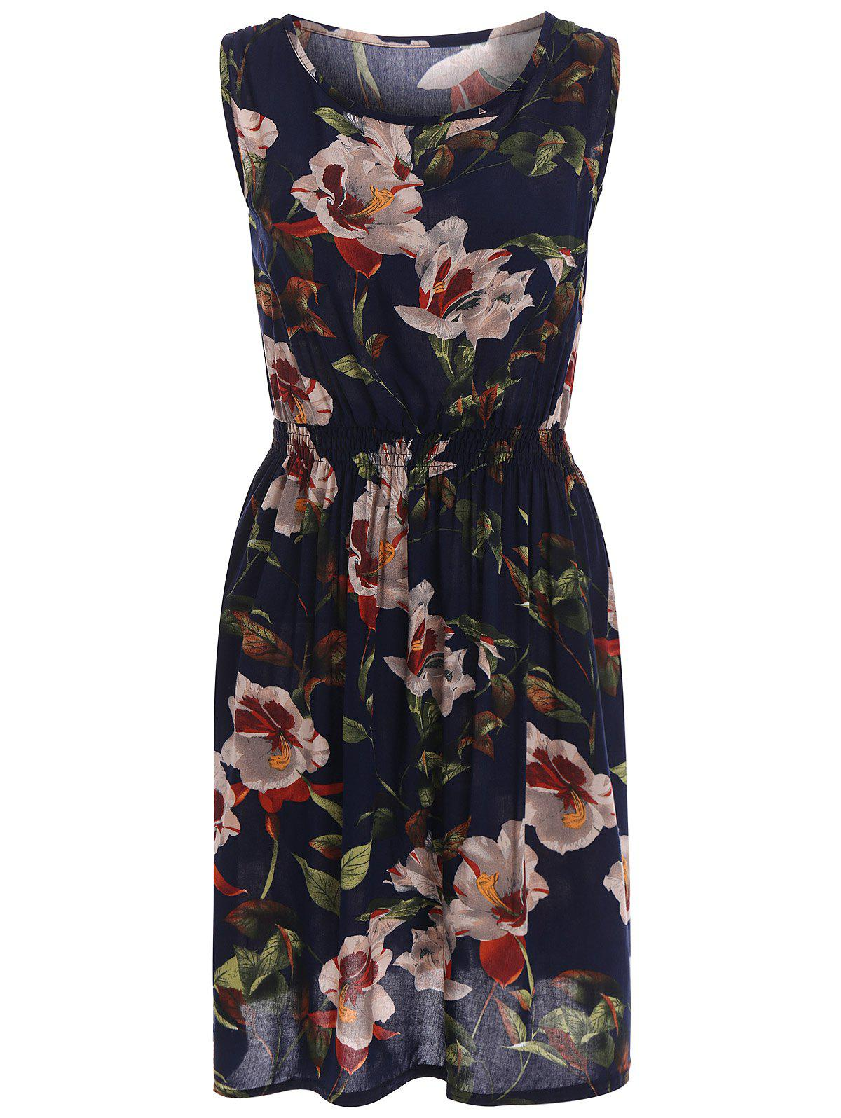 Outfits Stretch Waist Sundress with Floral Print