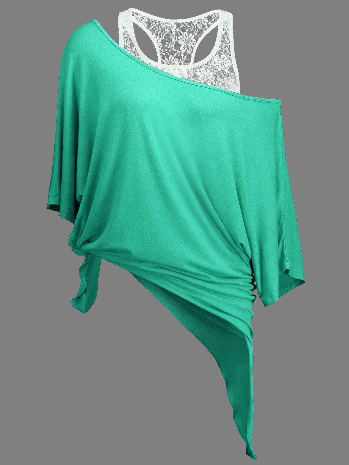 Trendy Handkerchief Batwing T-Shirt with Lace Tank Top