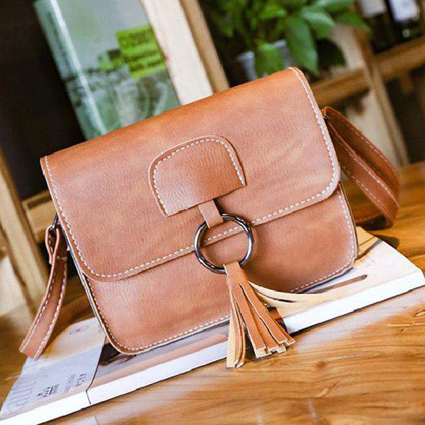 Metallic Ring Tassel Cross Body BagSHOES &amp; BAGS<br><br>Color: LIGHT BROWN; Handbag Type: Crossbody bag; Style: Fashion; Gender: For Women; Embellishment: Tassel; Pattern Type: Solid; Handbag Size: Mini(&lt;20cm); Closure Type: Magnetic Closure; Occasion: Versatile; Main Material: PU; Size(CM)(L*W*H): 19*6*16; Weight: 0.3090kg; Package Contents: 1 x Cross Body Bag;