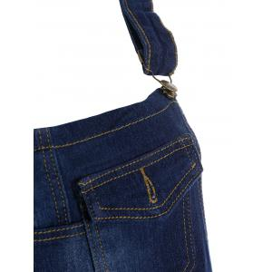 Broken Hole Denim Overalls with Pockets - BLUE S