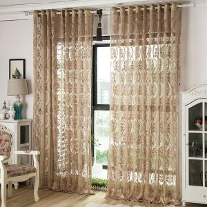 Europe Embroidery Tulle Fabric Sheer Window Curtain