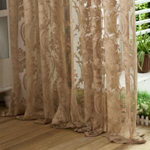 Europe Embroidery Tulle Fabric Sheer Window Curtain - LIGHT COFFEE W39 INCH *L98 INCH
