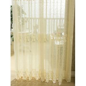 Flower Embroidery Sheer Grommet Top Tulle Curtain -