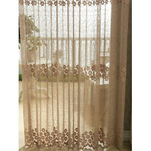 Flower Embroidery Sheer Grommet Top Tulle Curtain - COFFEE BROWN 100*250CM