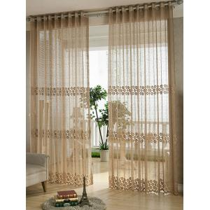 Flower Embroidery Sheer Grommet Top Tulle Curtain - Coffee Brown - 100*250cm