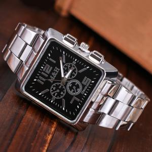 Metallic Strap Square Analog Watch - BLACK