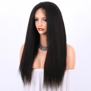 Long Yaki Straight Lace Frontal Synthetic Wig - BLACK