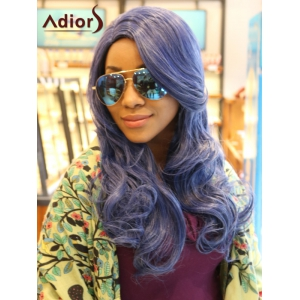 Adiors Long Side Part Wavy Synthetic Wig - Light Blue
