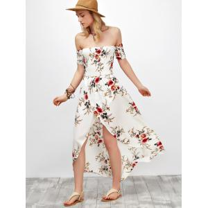 Chiffon Slit Floral Maxi Swing Dress - WHITE S