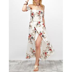 Off Shoulder Floral Chiffon Split Maxi Beach Dress - White - Xl