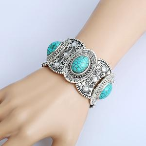 Vintage Artificial Turquoise Oval Engraved Bracelet - Turquoise Blue