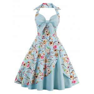 Halter Neck Floral Pin Up A Line Dress - Cloudy - L