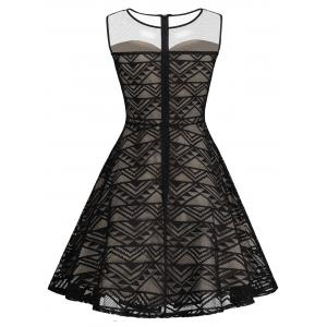 Mesh Panel Skater Homecoming Formal Dress -